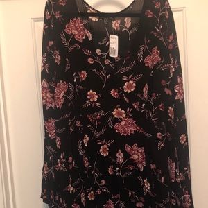 NWT Forever21 - Floral bell sleeve wrap dress